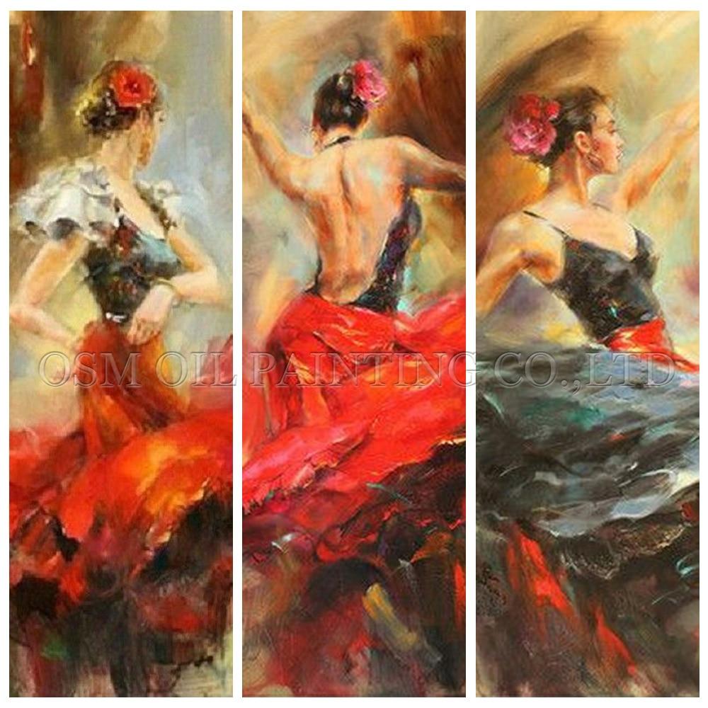 Magas képzettségű művész tiszta, kézzel készített benyomás spanyol flamenco táncos olajfestmény, vászon, gyönyörű fal művészet a nappalihoz
