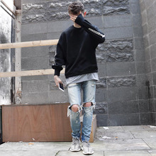 QXCWear high uality street mens destroyed jeans hole casual pants cool green jeans damage jeans rock hip hop