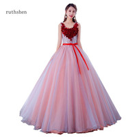 ruthshen Vestidos De Debutantes De 15 Anos Red Flowers Decorations Prom Ball Gown Dresses Quinceanera 2019 New Party Dresses