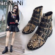 women Rivets PU Leather Booties Buckle Straps Thick Heel Bla