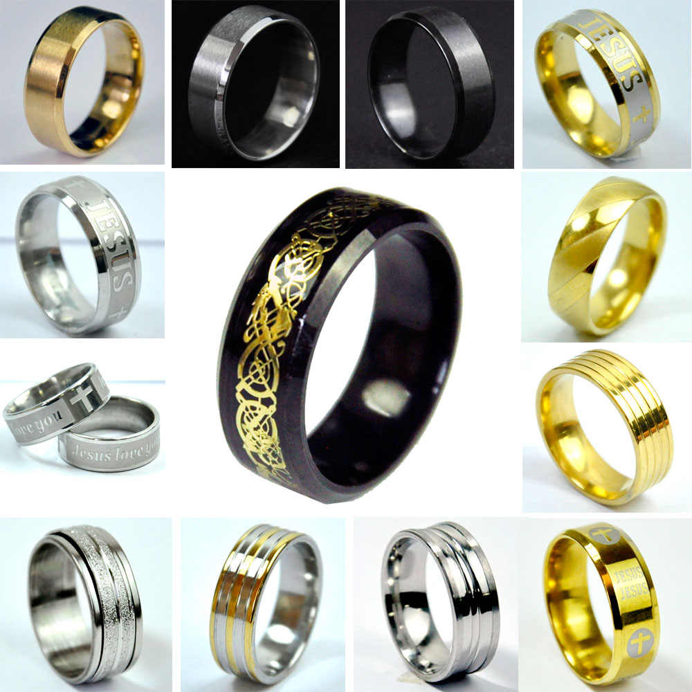 Stainless Steel Men Ring Black Titanium Steel Ring Top Quality Jewelry and Women
