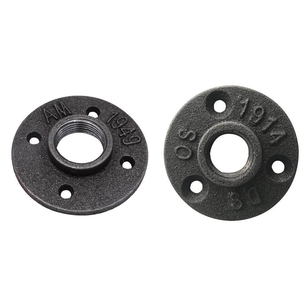 US $4 43 8% OFF| 1pcs Cast Iron Flanges Thread Malleable Iron Pipe Fittings  Wall Mount Floor Antique Flange Piece Hardware -in Flanges from Home