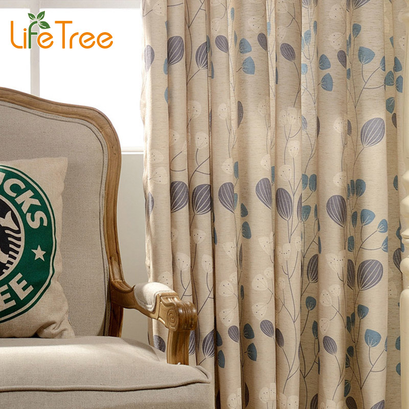 Blue Leave Printed Modern Long Curtains For Living Room Bedroom Window Drapes Endless Length Curtain Custom