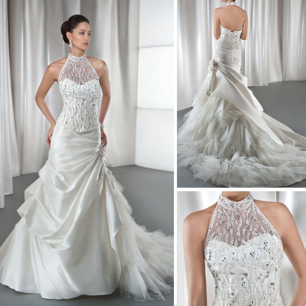 Wd059 Luxury Beaded Lace Top Vintage High Collar Ruffle Tulle Halter Trumpet Wedding Dresses