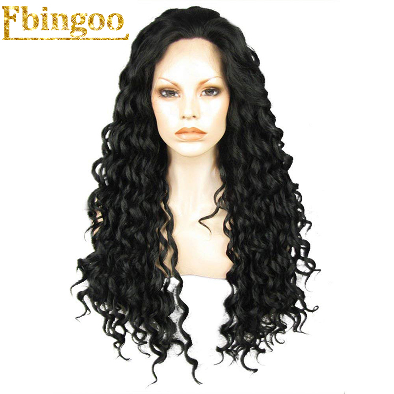 Ebingoo High Temperature Fiber Peruca Free Part Long Curly Full Hair Wigs Black Synthetic Lace Front