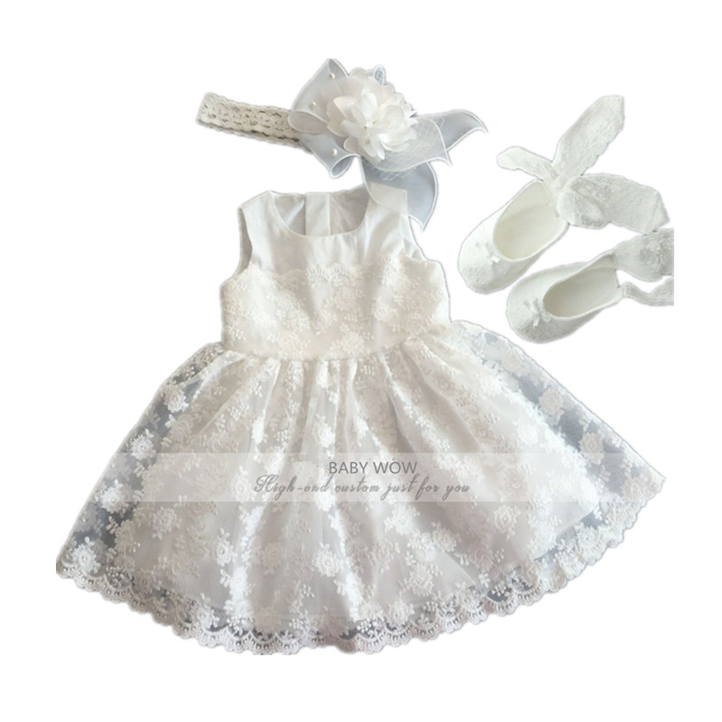 BBWOWLIN Baby Girls Dress + Headdress + Shoes Suits for Little Girl Christmas Birthday Party Wedding 8069