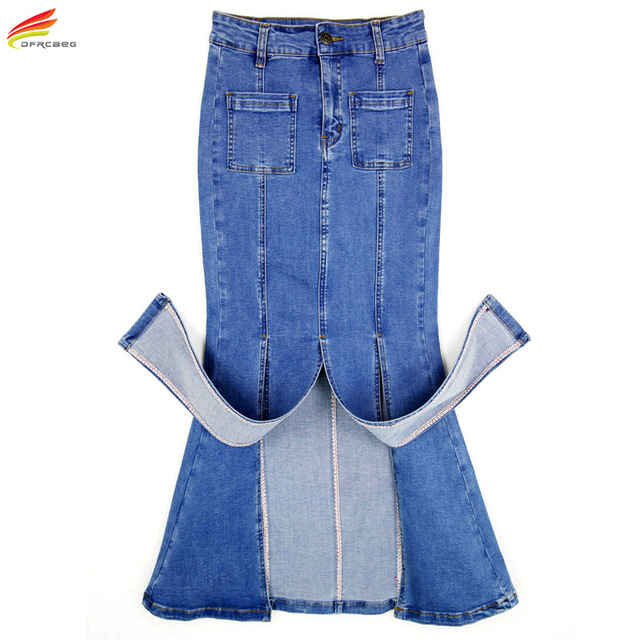 Womens Long Denim Skirt 2018 Fashion Style Side Split Maxi Stretch Jean Skirts Autumn Winter High