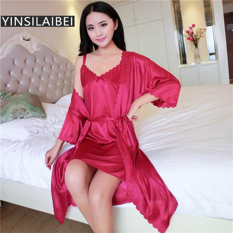 Aliexpress.com : Buy 2pcs/Set Women Nightwear Ice Silk ...