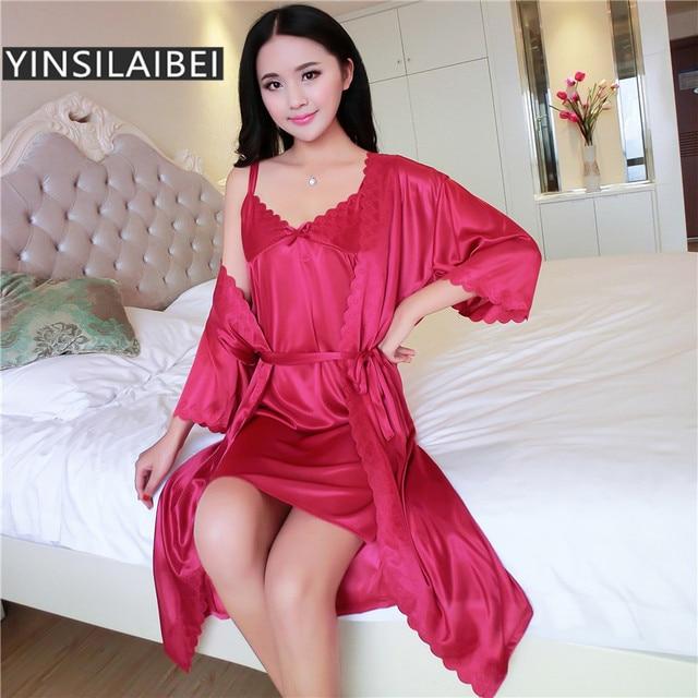 YINSILAIBEI 2pcs Set Nightwear Ice Silk Satin Nightgowns for Women Sleeping  Dress 2f1748f17