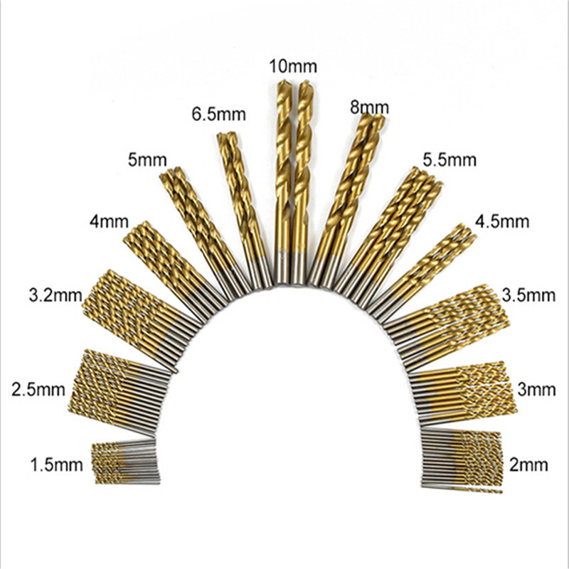 99pcs/Set Twist Drill Bits Titanium Coated HSS High Speed Steel DIY Woodworking Metalworking Tool 1.5mm - 10mm Drill Bit Set накладка на грудь ardo одноразовые прокладки для бюстгальтера day