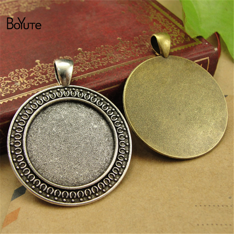 BoYuTe (30 Pieces/Lot) Wholesale Round 25MM Cabochon Base Diy Hand Made Pendant Blank Tray Bezel Jewelry Accessories