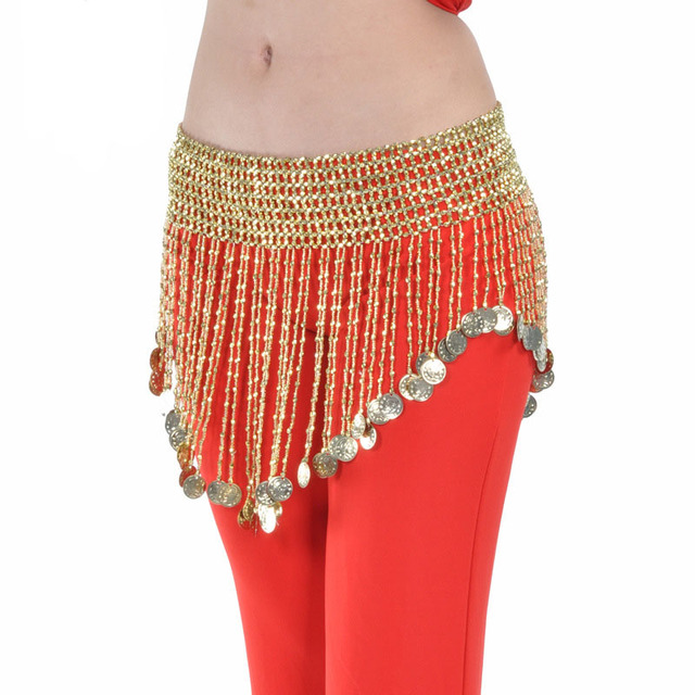 6a980659d Gold Silver Beads Oriental Belly Dance Bellydance Belts with Coins for  Women Indian Dancing Accessories Wear Stretch Waist Chain