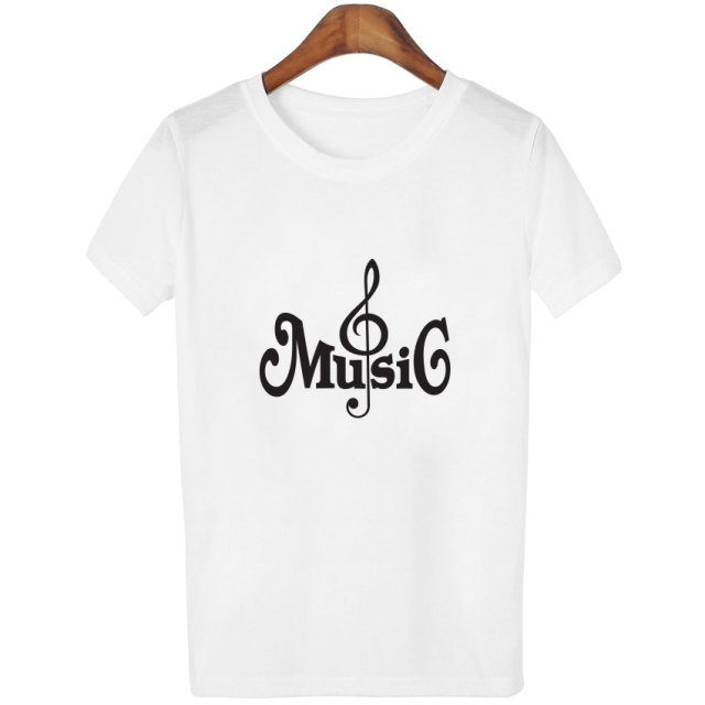 e3756e802d8 2018 Summer Clothing Casual T-Shirts Women Musical Symbols Printed Tees  Short Sleeve White Slim T Shirts Ladies Tops Female