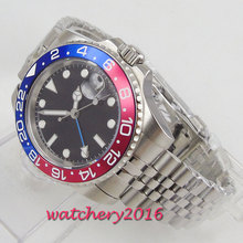 40mm parnis sterile Dial Sapphire Glass GMT Rotating Bezel Super LUME Top Band Automatic Movement mens Watch relogio masculino