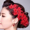 Hechos a mano Designe accesorios para el cabello para para la cabeza de la perla piezas de joyería de la boda de la flor del pelo blanco rojo de novia tocado para mujeres