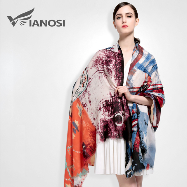 [Vianosi] moda bandana bufandas mujer del mantón de la impresión de algodón bufanda caliente suave clásico diseño de lujo foulard va029