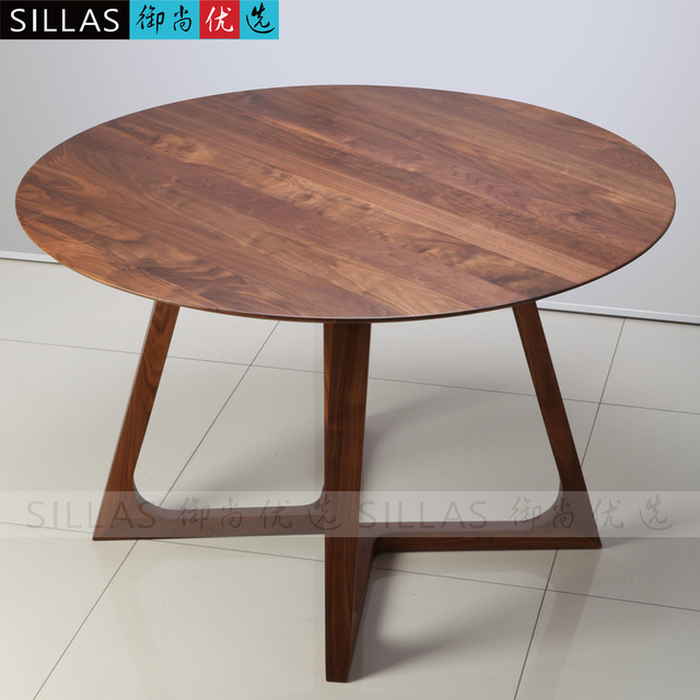 Walnut Furniture, Solid Wood Dining Table 1.2 M Roundtable Table Desk  Negotiating Table Minimalist Designer