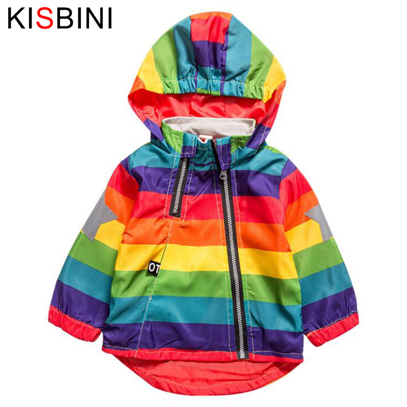 KISBINI Rainbow Stripe Jackets Coat For Boys Girls Spring Autumn Thicken Fleece Coats Hooded Zipper Windbreaker Coat For 2-5T