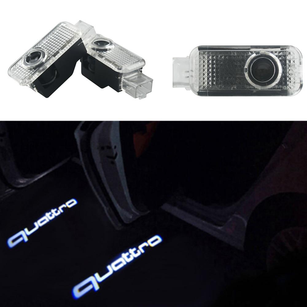2Pcs Car Shadow Light for AUDI A3 S4 A4 S4 RS4 A5 S5 A6 S6 A8 Q7 TT LED Logo Door Light for quattro logo 2xled car door logo projection warning light for audi a3 a4 b6 a6 c7 c5 q7 q5 a5 80 b7 b8 tt b8 rs4 rs5 rs6 s4 s5 s6 s7 quattro