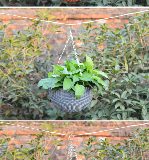 Growers Wall Hanging Basket Indoor Outdoor Sky Planter Round Plastic Garden Plant Decor Flower Pots with Chain Home Indoor Decor