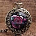 Новое Прибытие Прохладный Бронзовый Красный Красивые цветы Кварцевые Карманные Часы Кулон ФОБ Цепи Женщины Мужчины Мальчик Лучшие Подарки P340