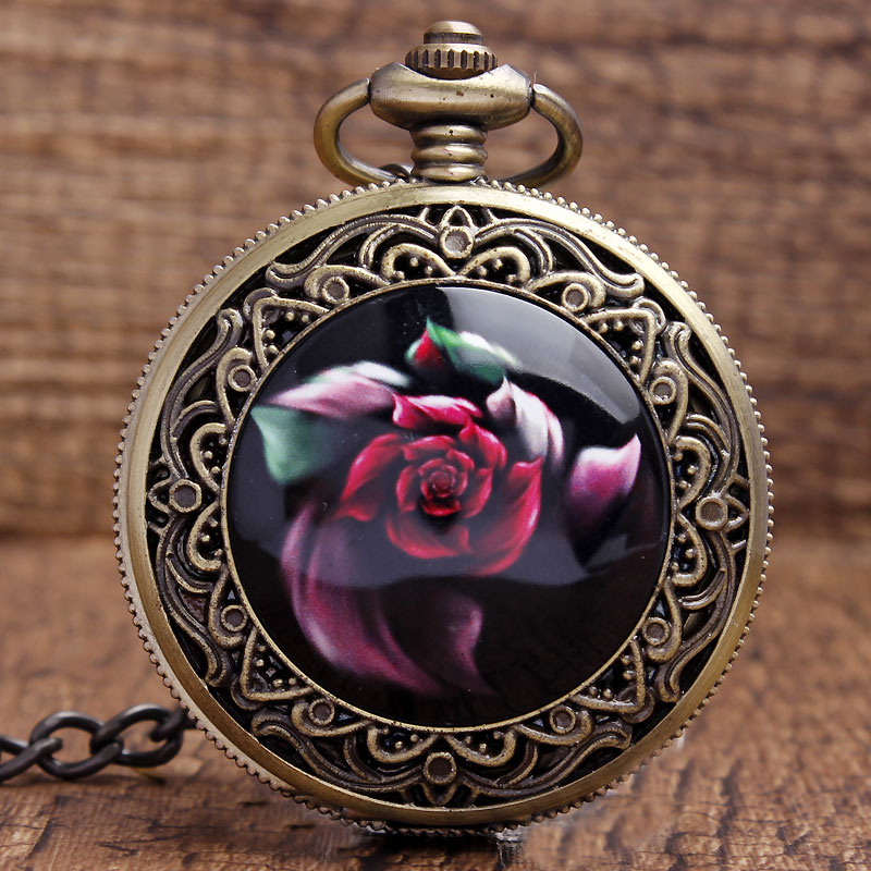 New Arrival Cool Bronze Red Beautiful Flowers Quartz Pocket Watch Pendant FOB Chain Women Men's Boy Best Gifts P340