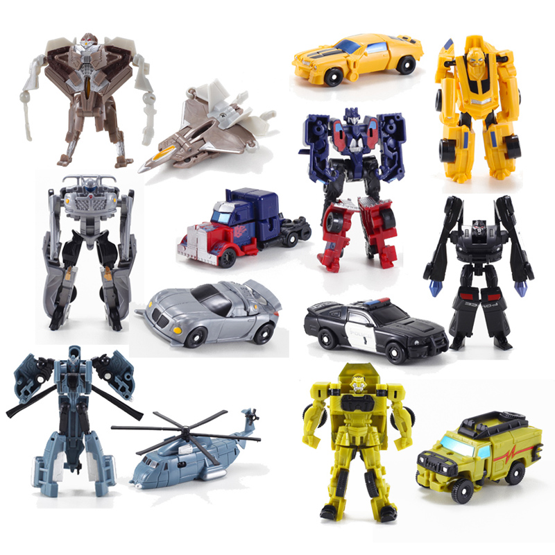 7pcs, Mini transhape Transformation  Kids Classic Robot Cars  Toys For Children   Action & Toy Figures  8cm with package 6 pcs set transformation robot cars and bruticus toys action figures block toys for kids birthday gifts