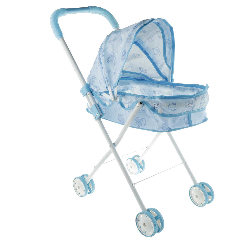 Складная мини-коляска на колесиках с синим принтом и 4 вращающимися колесами, детская коляска для ролевых игр, подарки