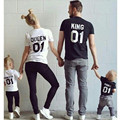 t shirt women Harajuku 2016 01 KING QUEEN Printing On Back Families T-shirt Cotton S-3XL Short Sleeves O-neck Women Tees