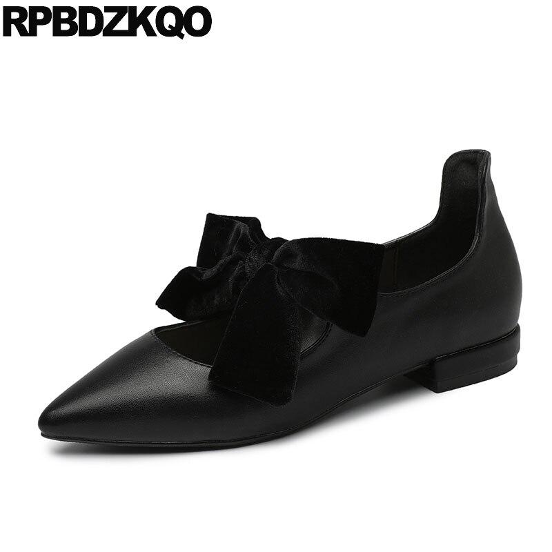 Japanese Mary Jane Big Bow Flats Soft Suede Black Pointy Women Dress Shoes Ladies Pointed Toe Cute 2018 Kawaii Velvet European цена