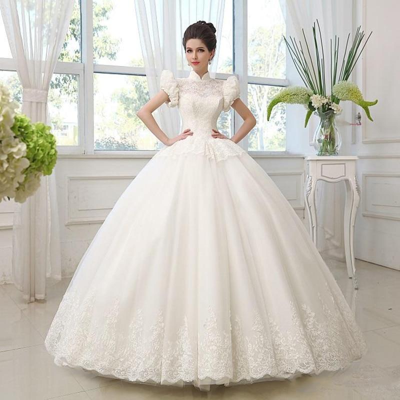 2015 custom ball gown high neck puff sleeve organza for Puff sleeve wedding dress