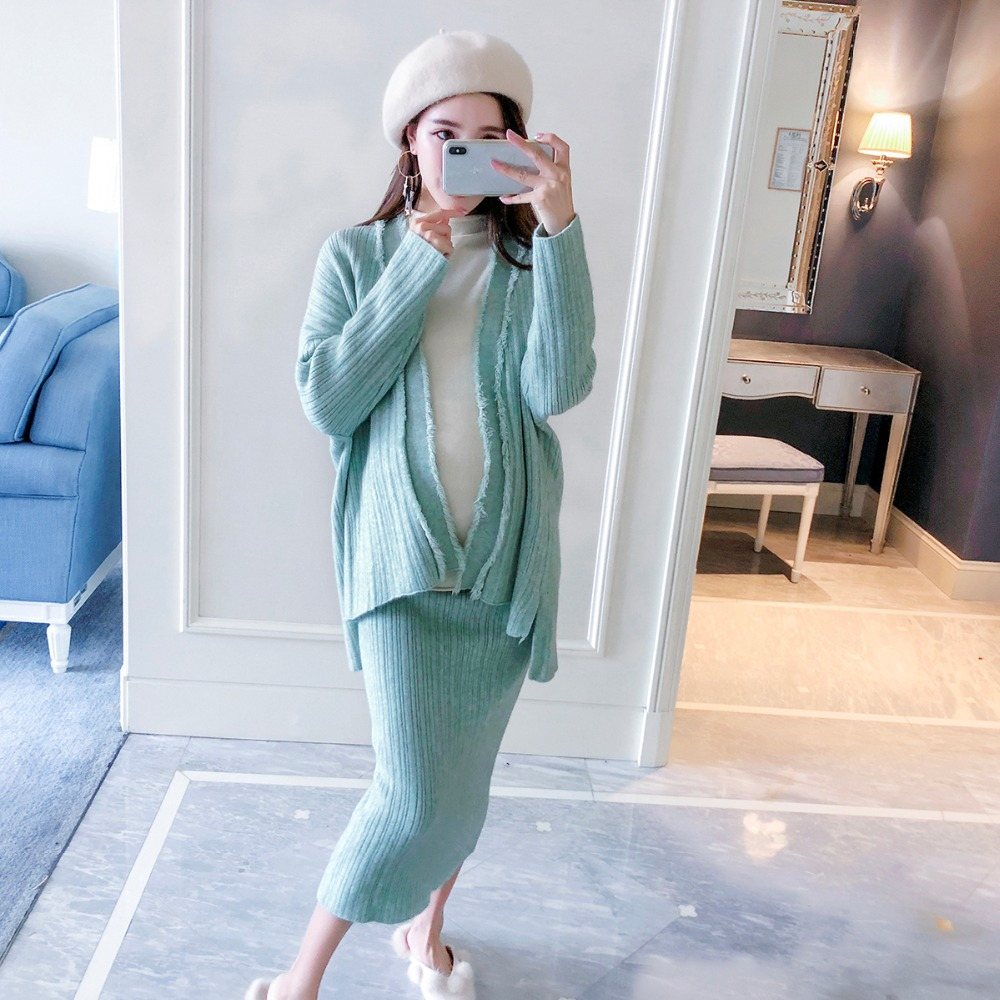 цена на Pregnant women autumn and winter fashion loose two-piece suit Korean pregnant big yards temperament 2018 new sweater suit