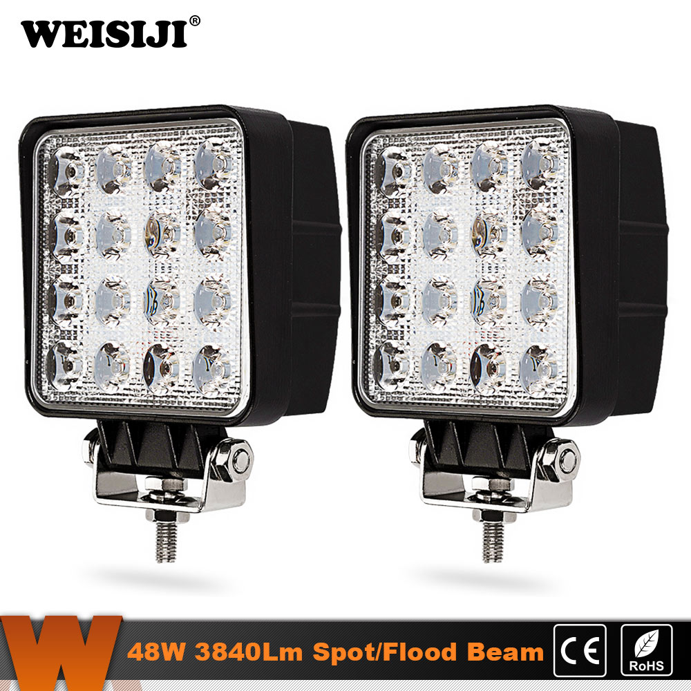 WEISIJI 2Pcs 48W LED Work Light Spot Flood beam for Indicators Motorcycle Driving Offroad Boat Car