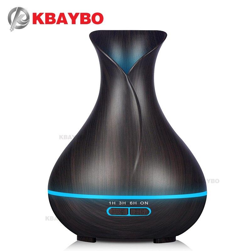 400 ml de Óleo Essencial Elétrica Grão De Madeira Escura Ultrasonic Aroma Difusor Névoa Fria Umidificador com DIODO EMISSOR de luz para o Escritório ou casa