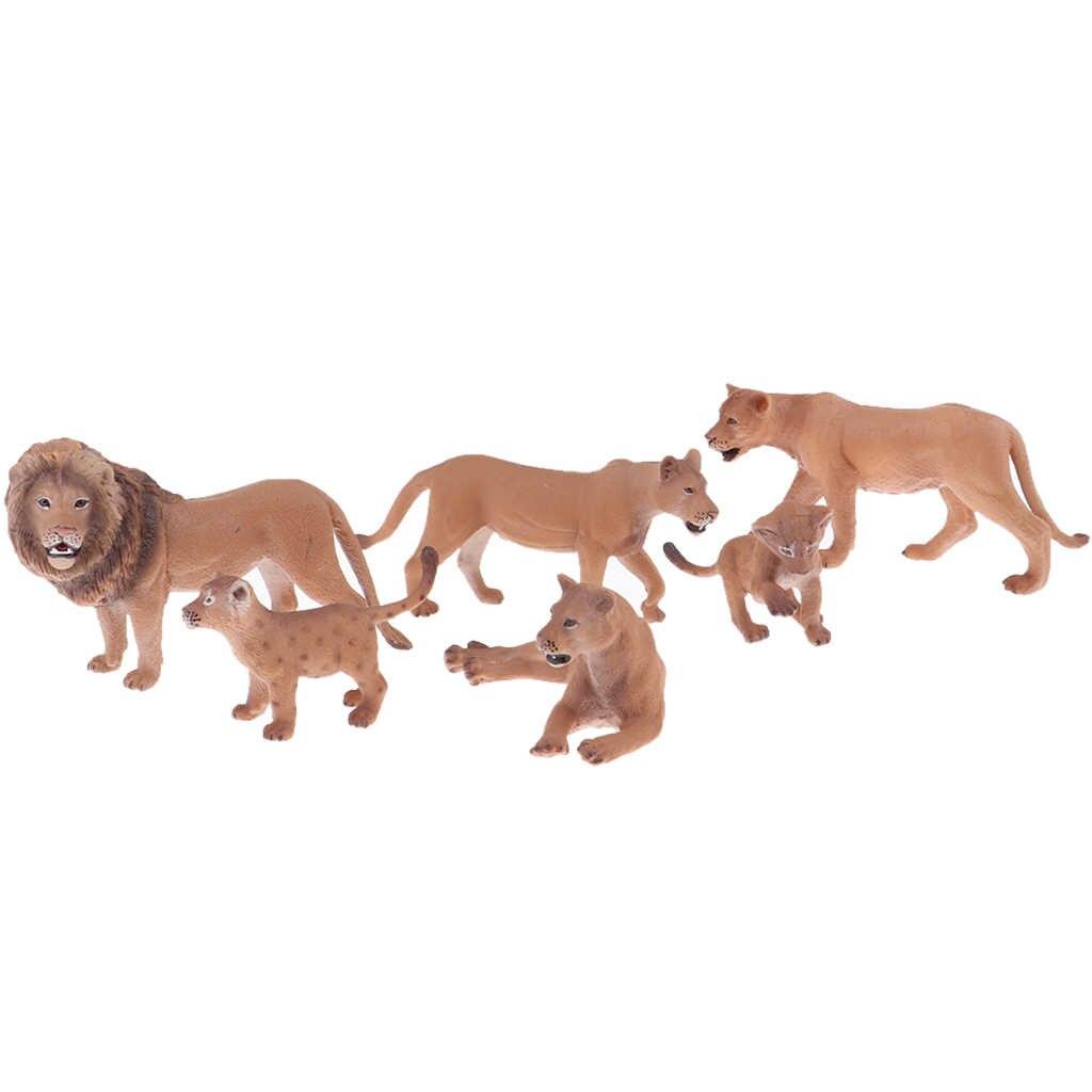 Leão realista com Bebês Figuras Figuras de Animais, Ovos de Páscoa chapéus de Coco Do Bolo de Natal Presente de Aniversário