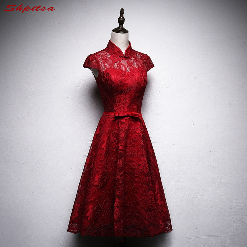 נשים שמלות קוקטייל תחרה קצרה אדום סקסי גבוהה צוואר קצר שמלה לנשף מסיבת סיום שמלת Coctail curto vestido de festa