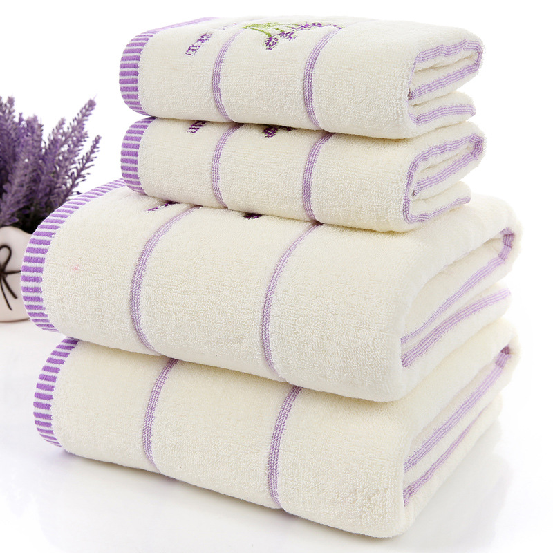 High Quality Luxury 100% Lavender Cotton Fabric Towel Set Bath Towels For Adults/child 1pc Face Towel 2pcs For Bathroom 3 Pieces