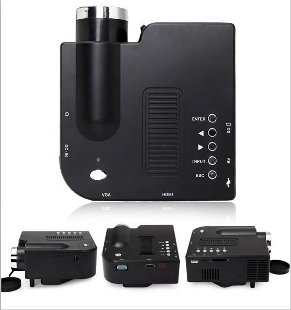 Negro blanco Color de HDMI SD proyector más de 20000 horas vida de la lámpara Mini Pocket práctico de apoyo Projektor español portugués