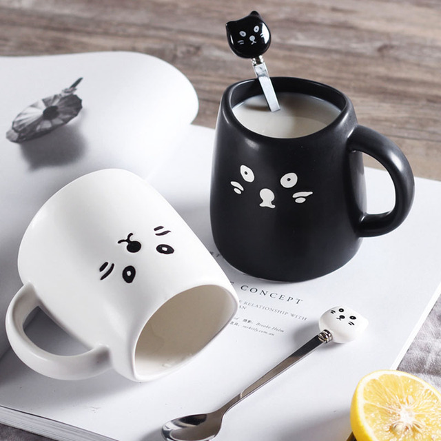 Creative Black and White Cup Cute Cat Coffee Mugs With Spoon