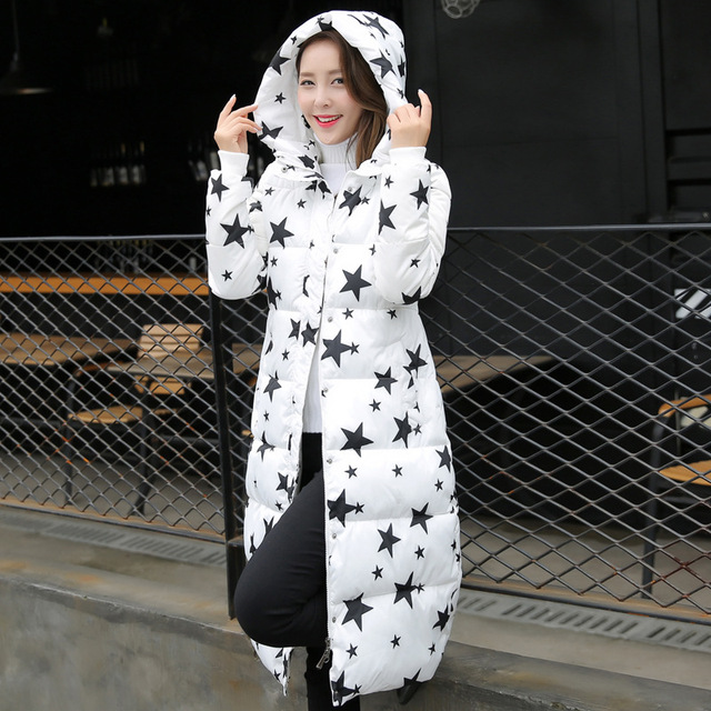 Женщины Длинные Зимние Куртки 2016 Женские Толстые Звезды Печати Вниз Хлопка Проложенный Парки женские Зимние Куртки И Пальто Манто Femme