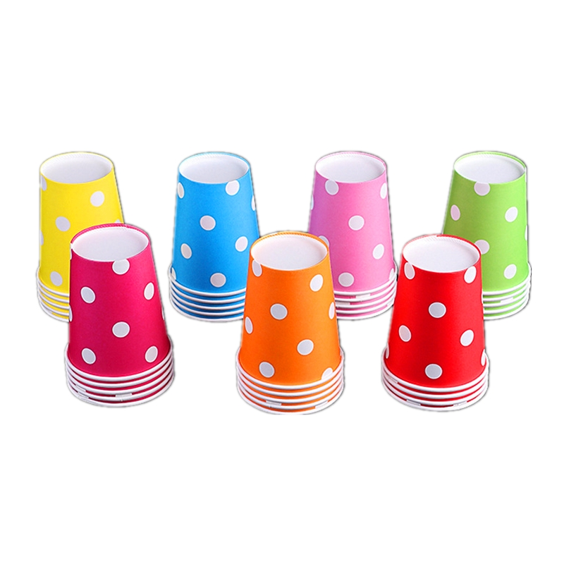 10pcs\lot Happy Birthday Party Pink Tableware Baby Shower Red Decoration Paper Glass Kids Favors Blue Polka Dots Cups Supplies