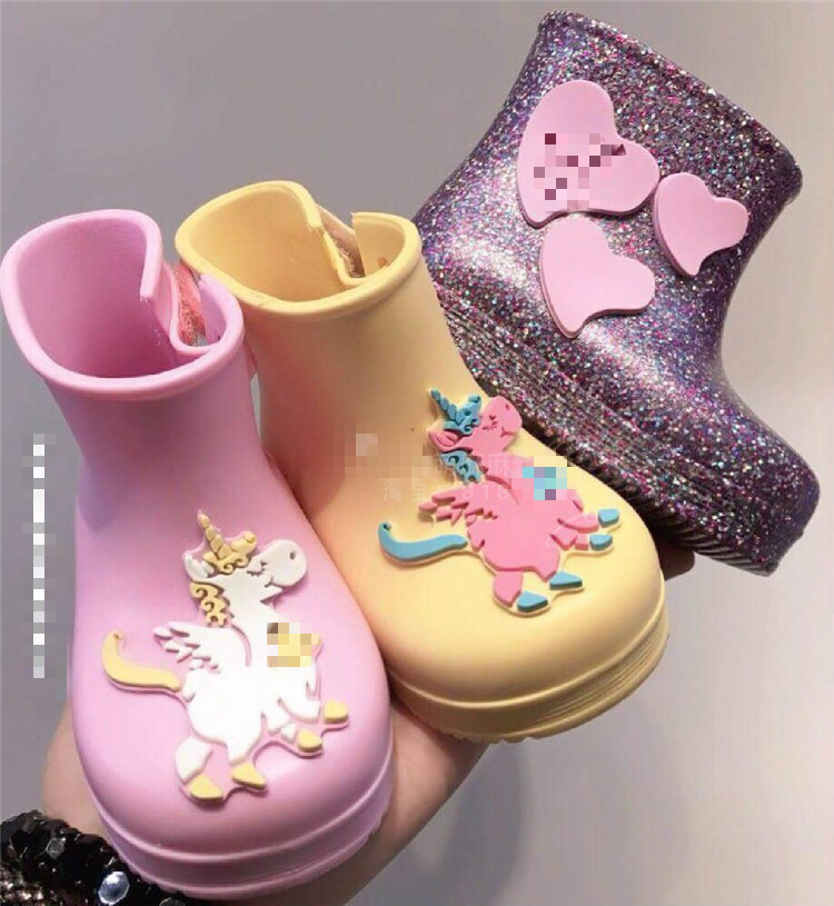 Kids Autumn And Winter Rainboots Children Fashion Unicorn Candy Waterproof Shoes Kids Girl Baby Rainboots Winter Thick SH19072