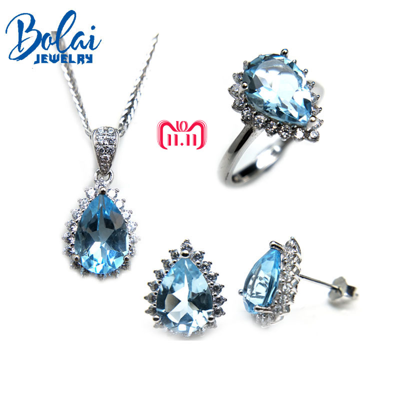 Bolaijewelry,natural sky topaz pendant or necklace and ring or earring jewelry set 925 sterling silver for women wedding gift bolaijewelry natural emerald pendant or necklace and ring and earring jewelry set 925 sterling silver for women anniversary gift