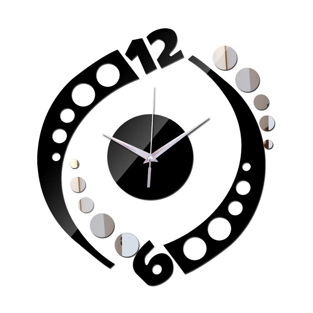 Sala de quartzo agulha relógio acrílico relógio de parede espelho diy relógios real