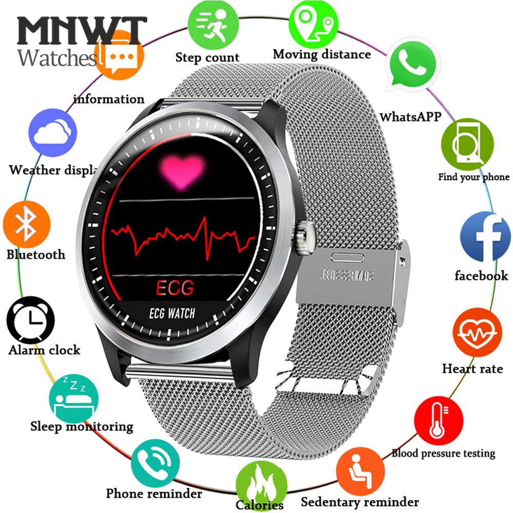 MNWT Men Smartwatch ECG PPG Electrocardiograph Display Heart Rate Monitor Blood Pressure Fitness Tracker Smart Sports