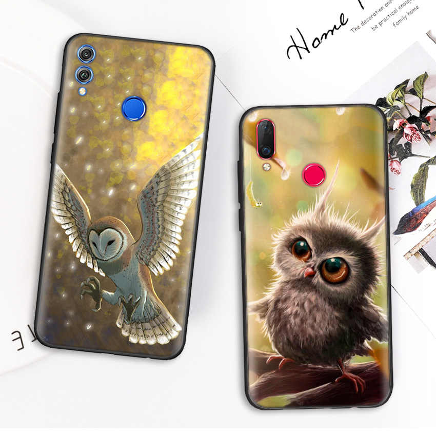 Tipis Silikon Case Penutup untuk Kehormatan 9X Pro 9C 9S 9A 10i 8X 8S 9 10 20 Lite pro 8A 2020 Perdana Y7 Y6 Y5 Y9 2019 Lucu Burung Hantu Kartun