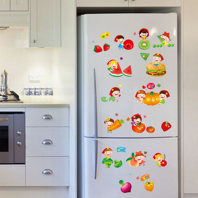 Fundecor Diy Home Decor Cartoon Fruits And Vegetables Kitchen Decorative Wall Stickers Decals Sticker On The Fridge In From Garden