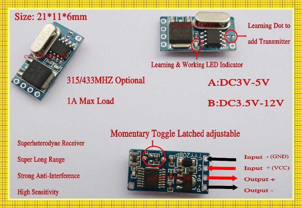 DIODO EMISSOR de Luz Da Lâmpada de Controle Remoto Micro Interruptor Mini Controlador de Iluminação Sem Fio DC 3 V 3.6 V 3.7 V 4.5 V 5 V 6 V 7.4 V 9 V 12 V RF TX RX - 5