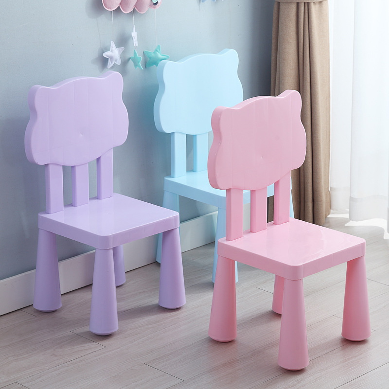 Children Plastic Chair Kindergarten Combined Chair Baby Safe Plastic Back Kids Furniture Pink