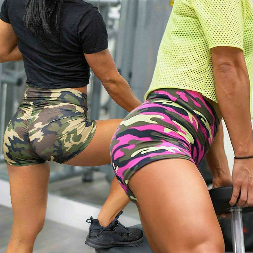 New Womens Yoga Shorts Camouflage Print Summer Gym Running Stretch High Waist Sport Ladies Sports Casual Trouser Slim Fit Shorts
